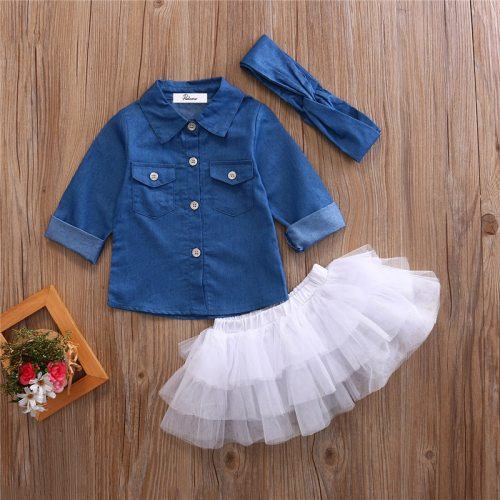 3pcs Denim Mesh Skirt Set