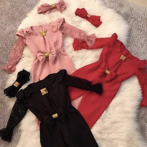2pcs Lace Flare Bow Romper