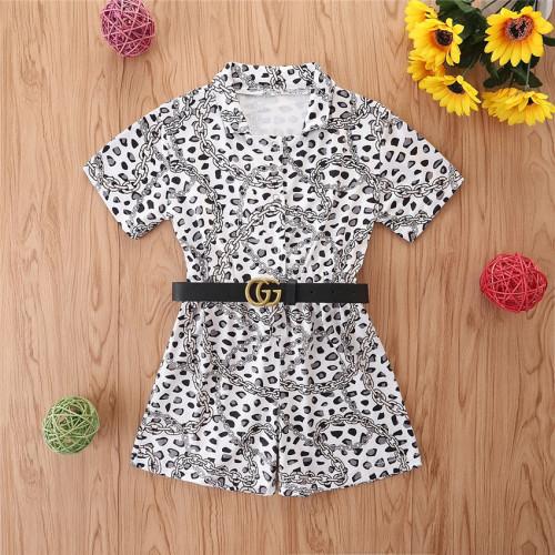 Polo Collar Leopard Jumpsuit