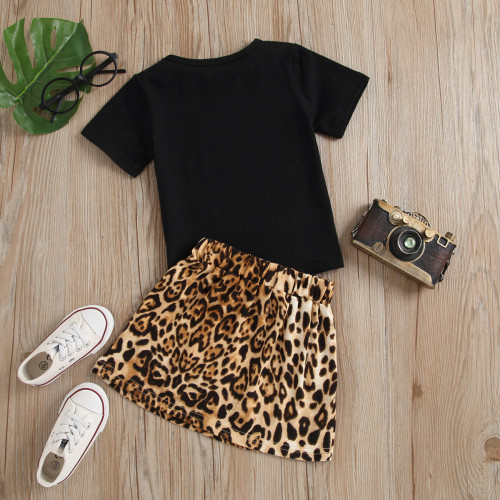 2pcs Leopard Letter Skirt Set