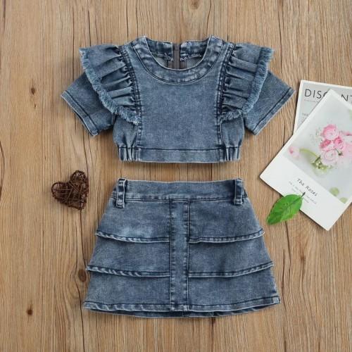 2pcs Denim Ruffle Skirt Set