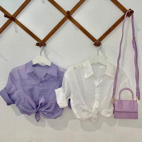 Polo-collar Long-sleeve Top