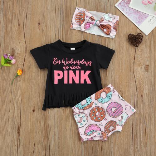 3pcs Letter Pink Short Set