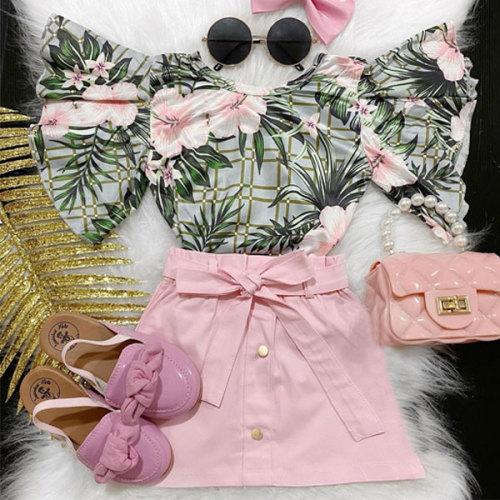 2pcs Flower Print Skirt Set