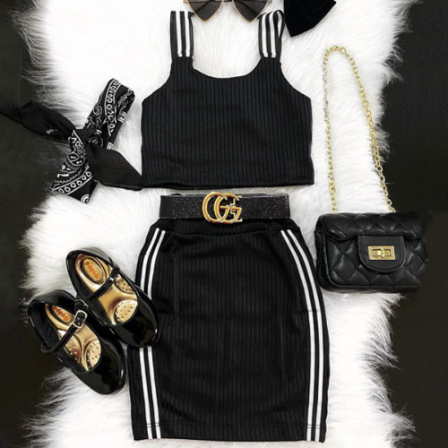 Stripe Sling Skirt Set