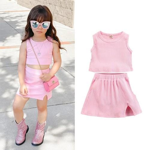 2pcs Plain Sleeveless Skirt Set