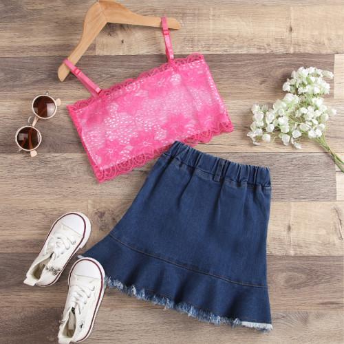 Lace Denim Skirt Set