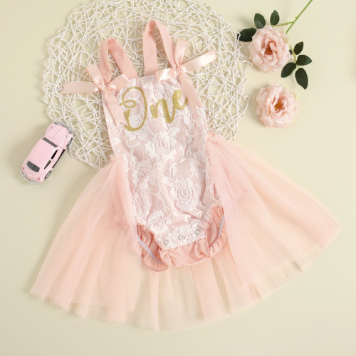 One Letter Lace Romper