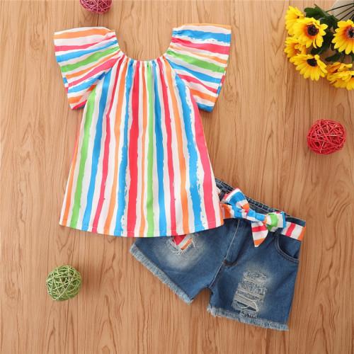 2pcs Rainbow Stripe Ruffle Set