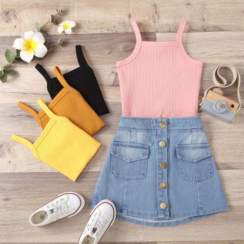 2pcs Sling Denim Skirt Set