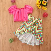 2pcs Stripe Ruffle Set