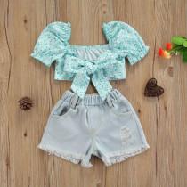 2pcs Floral Bow Short Denim Set