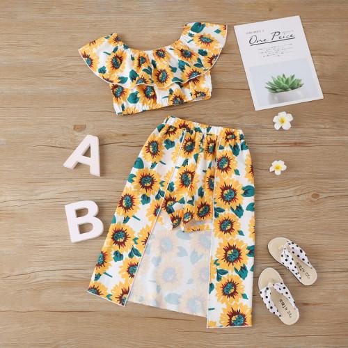 2pcs Daisy Print Skirt Set