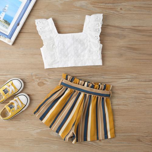 2pcs Stripe Lace Bow Set