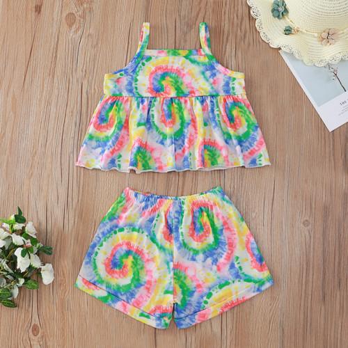 2pcs Tie dye Short sleeve Set