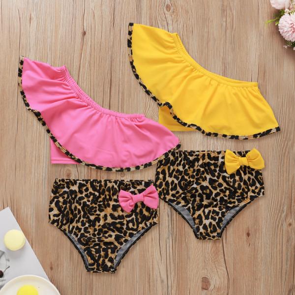 2pcs Leopard Ruffle Swimsuit