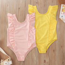 Solid Color Ruffle Swimsuit