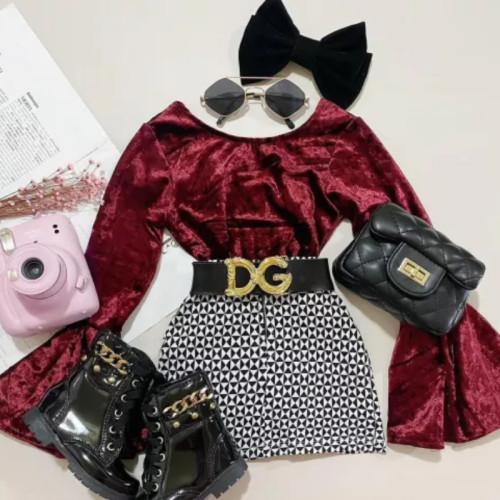 2pcs Flare Sleeve Skirt Set