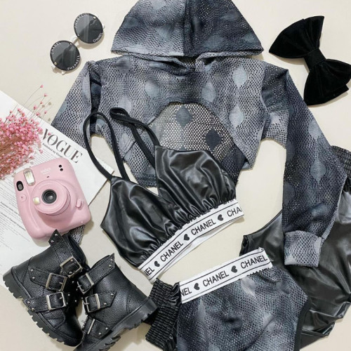 4pcs Mesh Tie dye Hoodie Set
