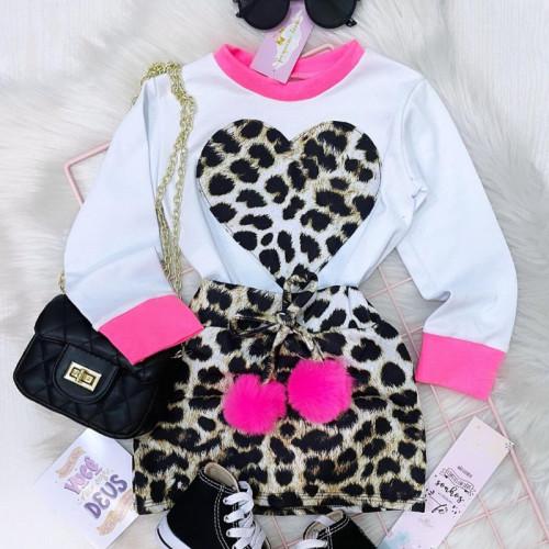 2pcs Heart Leopard Skirt Set