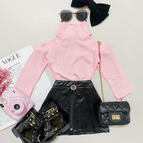 2pcs Plain Long sleeve Skirt Set