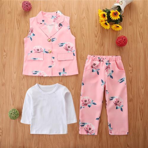 3pcs Floral Print Long sleeve Set
