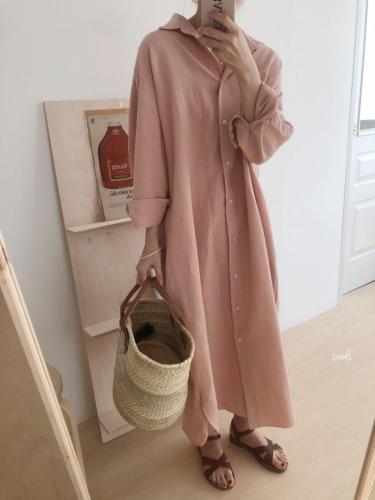 【韓國製棉麻連衣裙襯衫裙】包容性好,舒適寬鬆實穿,棉麻材質,質量可放心,不滿意可退換貨,極速出貨,5-7個工作日送達