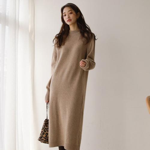 秋冬加厚中長款半高領 氣質簡約內搭針織衫連衣裙