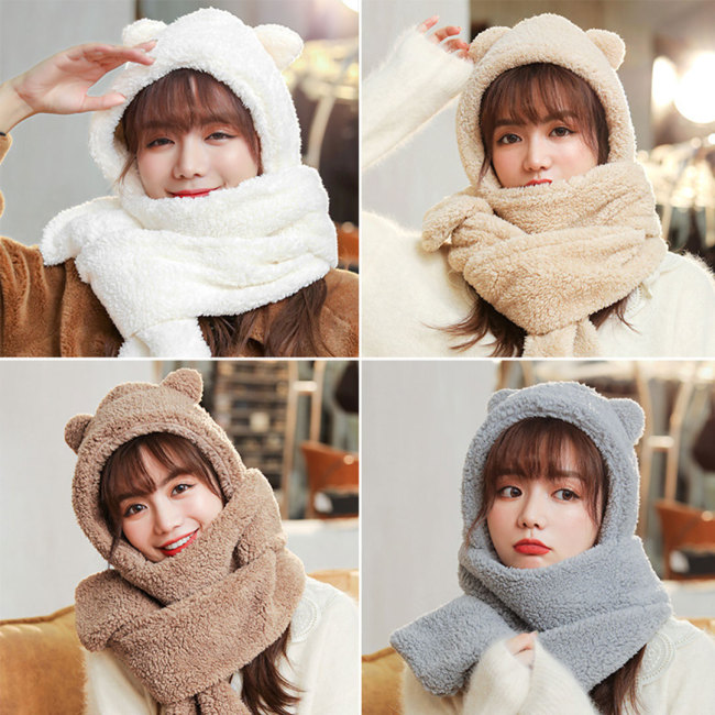 毛絨小熊帽子三合一圍巾