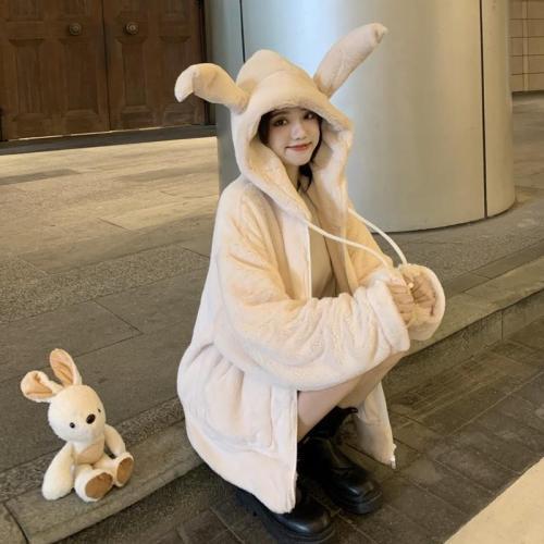 可愛可動兔耳朵毛絨外套 精選優質兔毛 手感柔軟光滑