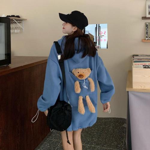 【45-85KG&男女可穿】男女港風潮牌 秋冬新款純色小熊玩偶寬鬆休閒連帽衛衣