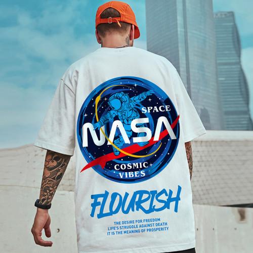 歐美街頭嘻哈風 太空人男女寬鬆短T  加大碼 最大150KG可穿