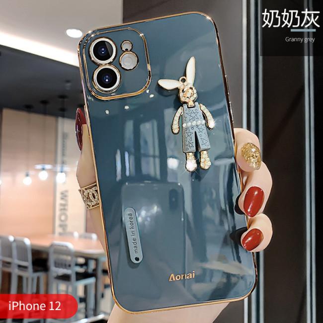 【可愛兔手機殼】iPhone全適配 立體兔子配飾 電鍍全包 舒適手感 下訂任意兩款保護殼贈10000大容量行動電源