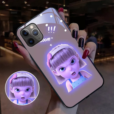iPhone全適配 玻璃材質 智慧發光系列 超可愛女孩表情 下訂兩個附贈10000大容量行動電源