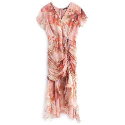 2021夏季(限量款)真絲順紆縐抽褶荷葉邊擺連衣裙