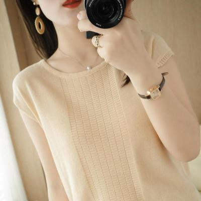 【圓領針織衫】2021春夏新款韓版時尚圓領上衣T恤衫,寬鬆顯瘦針織短袖棉麻休閒打底衫