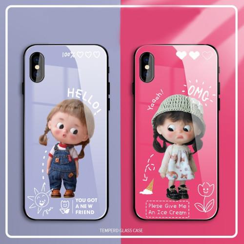 【小女孩玻璃防護殼】Phone全適配 玻璃材質 Q版可愛女孩表情 下訂兩個附贈10000大容量行動電源