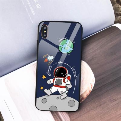 【太空人手機殼】原創設計  iPhone全適配 四角防撞邊框+玻璃背板 下訂兩個附贈10000大容量行動電源
