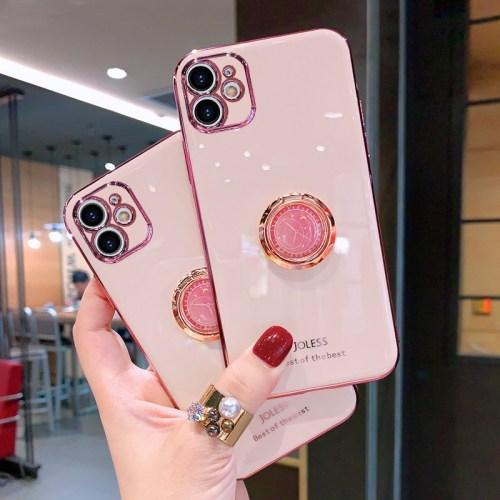 【創意時鐘支架手機殼】iPhone全適配 潮流配色 電鍍防摔殼 下訂兩個附贈10000大容量行動電源