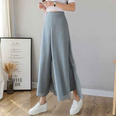 時尚冰絲雪紡九分闊腿褲  薄款透氣 穿著舒適 新品專區任選2件立減200 3件立減500