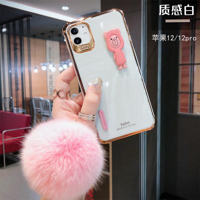 【小熊電鍍殼】手工刺繡小熊 iPhone12電鍍殼