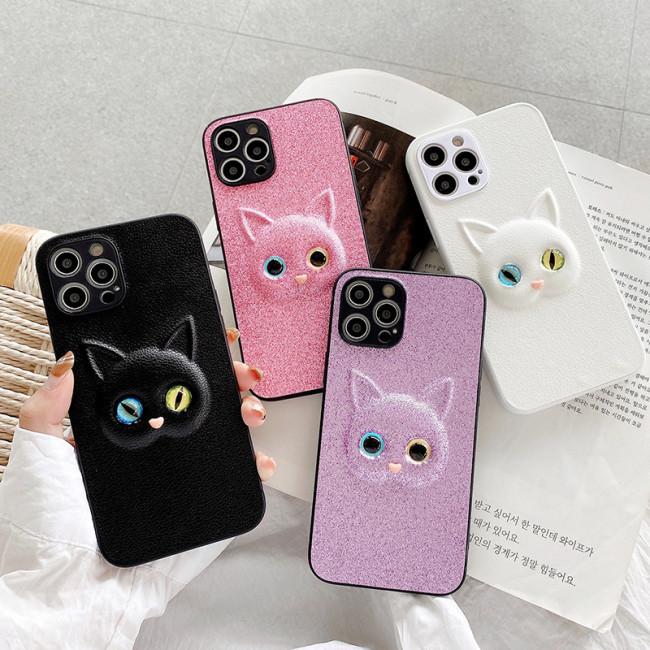 【立體貓咪手機殼】適用iphone 皮質立體貓咪矽膠手機殼  全場任選2個 附贈行動電源
