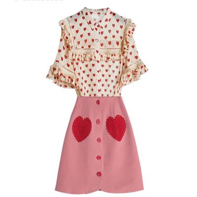 韓國甜美風 夏季時尚高腰荷葉袖A字套裝裙 新品專區下訂2件立減200 3件立減400