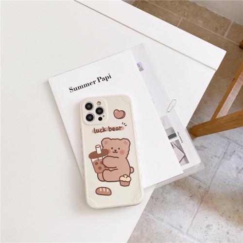 【小熊手機殼】適用iPhone 側邊卡通可愛奶茶小熊手機殼  任選2個 附贈行動電源
