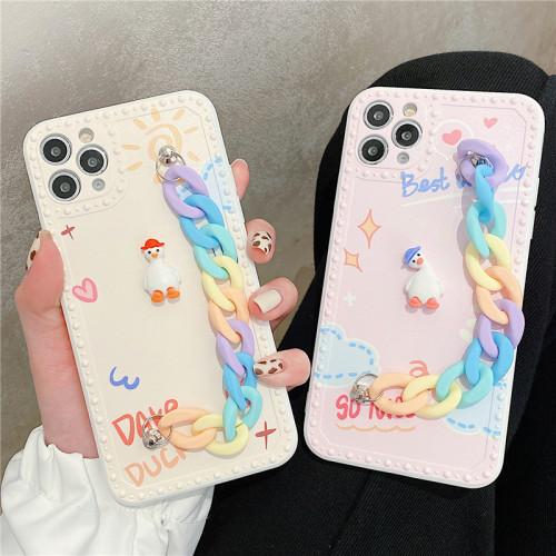 iPhone全適配 可愛鴨鏈條防護殼 下訂任意兩款手機殼 附贈大容量行動電源