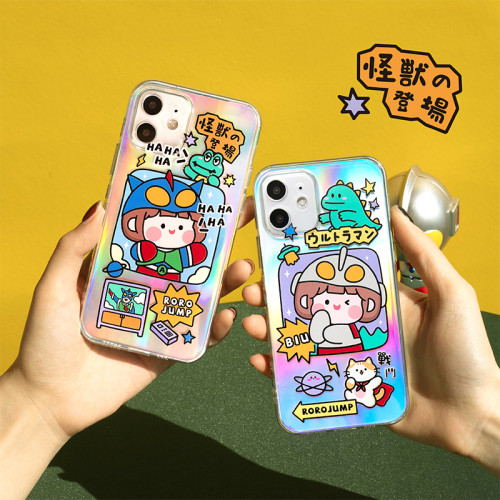 iPhone全適配 側邊鐳射可愛手機殼 下訂任意兩款手機殼 附贈大容量行動電源