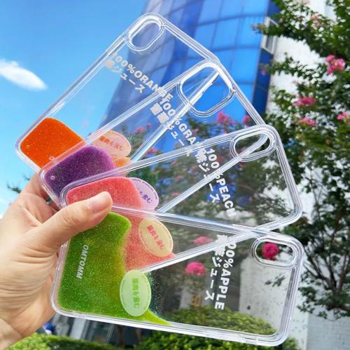【流沙手機殼】iPhone系列 日系夏日果汁流沙手機殼  全場任選下訂2個 送大容量行動電源