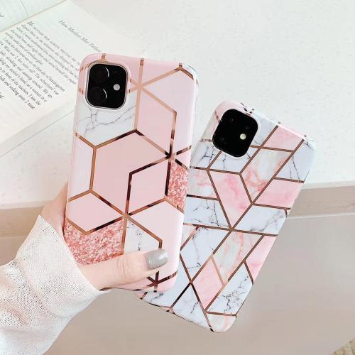 【菱形大理石手機殼】適用iPhone 拼接菱形電鍍大理石手機殼  全倌滿799免運費 附贈大容量行動電源