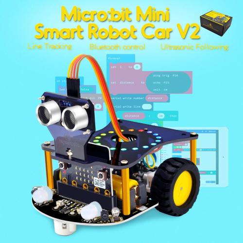 Weegeeks Mini Smart Micro Bit Robot Car V2.0 for Micro:bit Robot