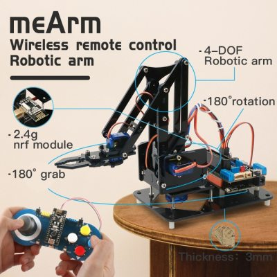 Diy Robotic Arm Claw kit for Arduino R3,High Hardness Acrylic,Support Scracth Programming,PS/2.4G Wireless Control